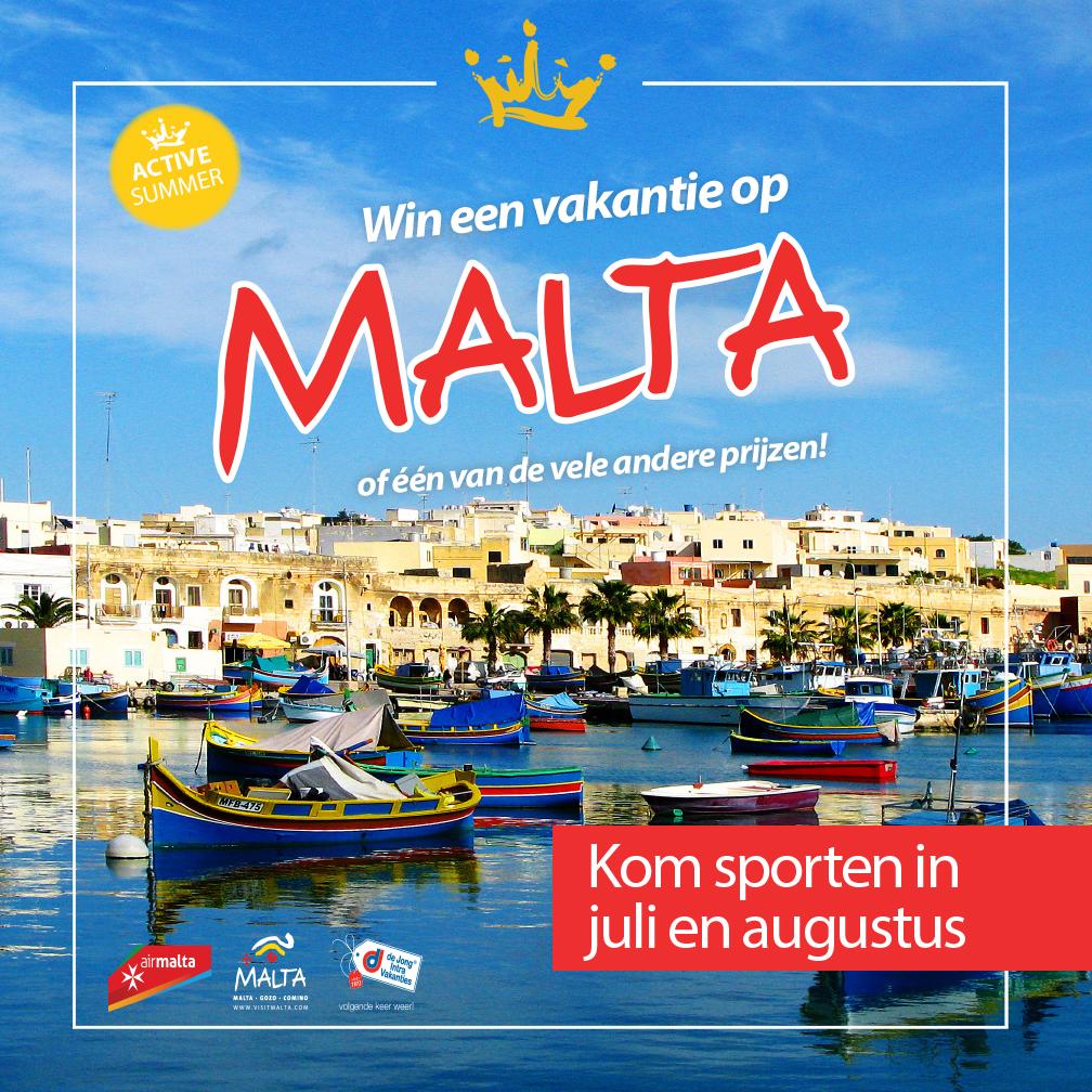 Dit is een afbeelding van een aanbieding om te komen sporten bij Frits van der Werff Hoorn in juli en augustus. Doe mee en win een vakantie op Malta.