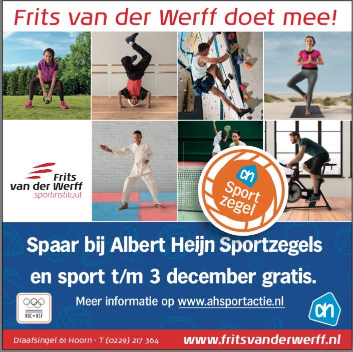 Dit is een poster van de Albert Heyn sportzegelactie bij fitness Frits van der Werff in Hoorn