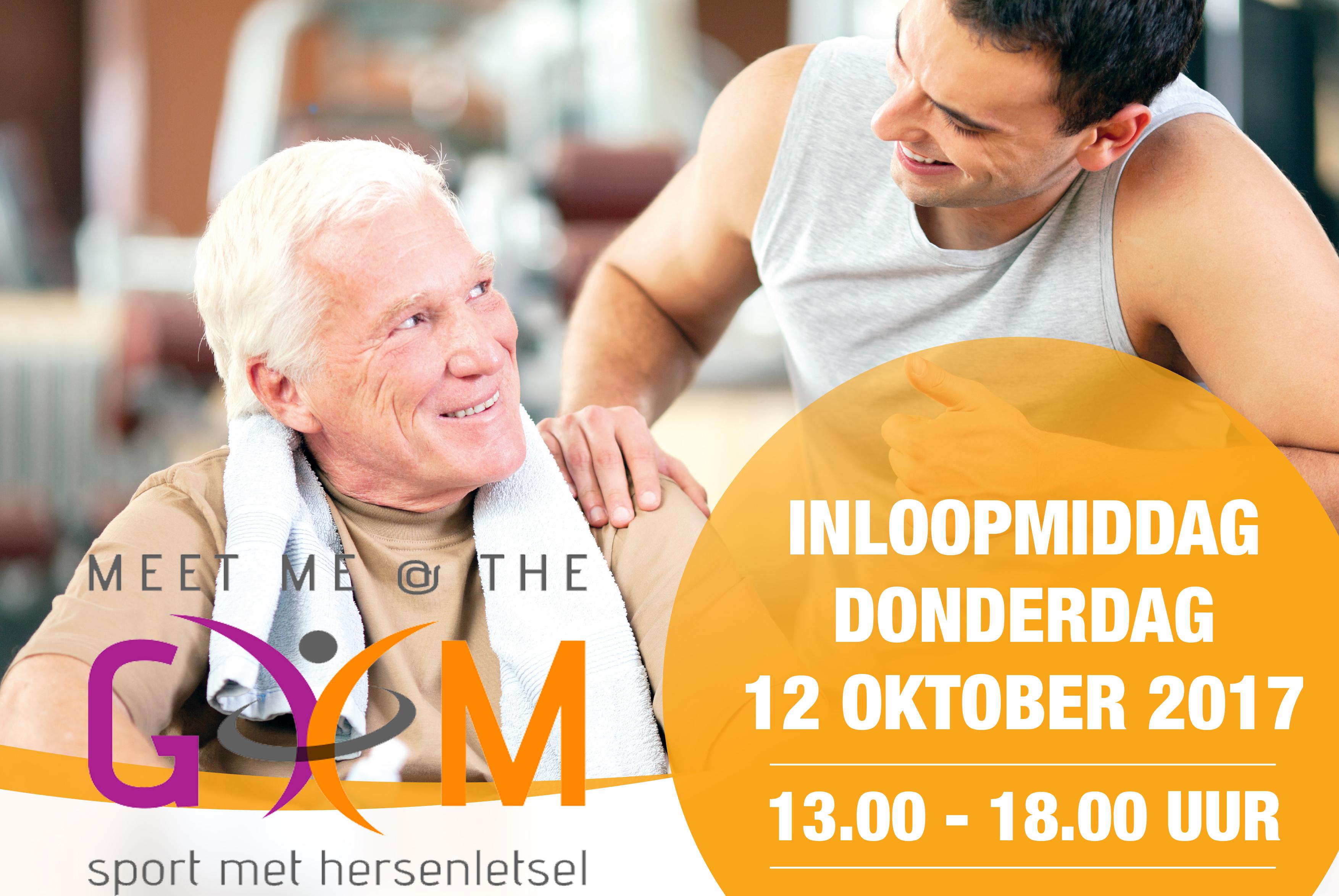 Sporten met hersenletsel. Dit is een afbeelding van een poster van de NHA inloopmiddg bij Sportinstituut Frits van der Werff. De poster gaat over sport met hersenletsel.